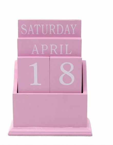Baby Pink Wooden Perpetual Desk Calendar ~ Day ~ Date ~ Month